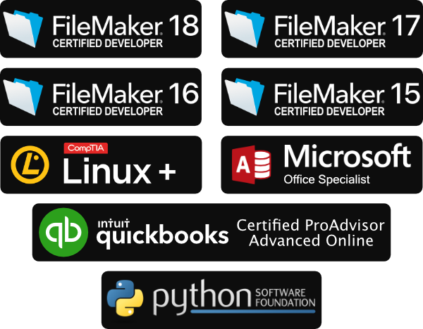 FileMaker Certified Developer, Microsoft Office Specialist, Comptia Linux Plus, and QuickBooks Onlince Certified ProAdvisor Advanced logos